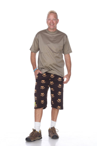 Mens Fleece Shorts - Brown Bears