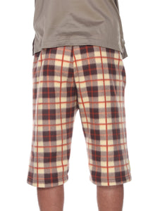 Mens Fleece Shorts - Brulee Plaid