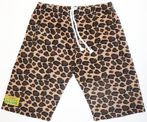 Mens Fleece Shorts - Cheetah