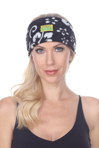 Fleece Headband - Black Hibiscus
