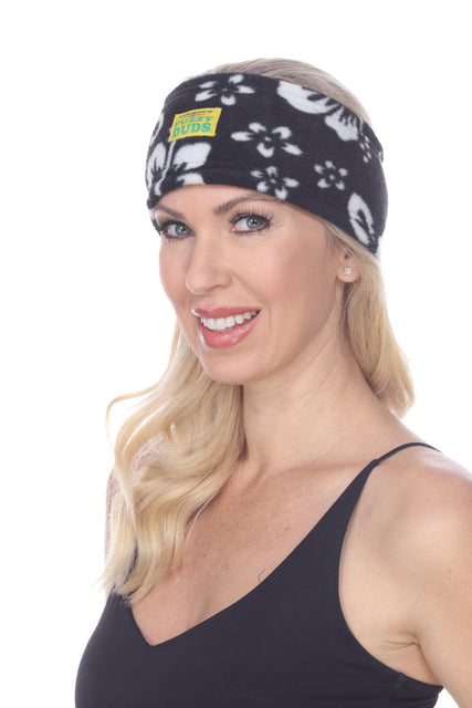 Fleece Headband - Black Hibiscus - Fuzzy Duds