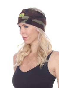 Green Camo Fuzzy Fleece Headband