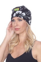 Load image into Gallery viewer, Fleece Beanie - Black Hibiscus