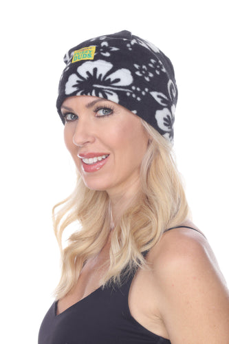 Fleece Beanie - Black Hibiscus