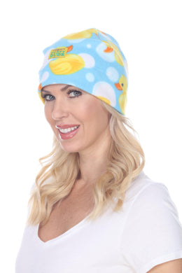 Bubble Ducks Fuzzy Fleece Beanie Hat