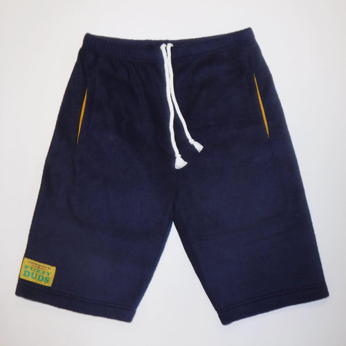 Mens Fleece Shorts - Navy with Yellow Pockets