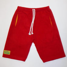 Load image into Gallery viewer, Mens Fleece Shorts - Red with Yellow Pockets