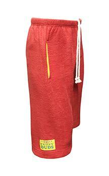 Mens Fleece Shorts - Red with Yellow Pockets