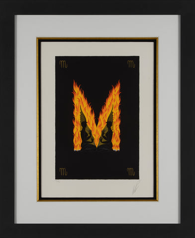 Letter M composed of Fire in a black bacgroung. Framed