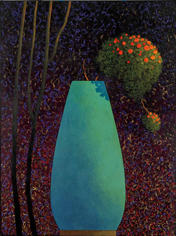 Turquoise Abstract Shaped Vase with orange flowers in the middle of a dark forest.
