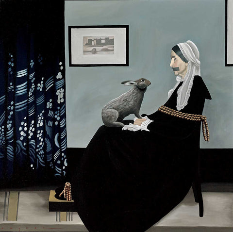 An Old Woman tied to a chair with a black dress on and a hare in her lap.