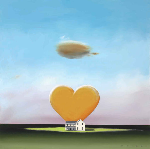 A large yellow heart on top of a farm house. Blue skies with only one clowed that is located on top of the heart.