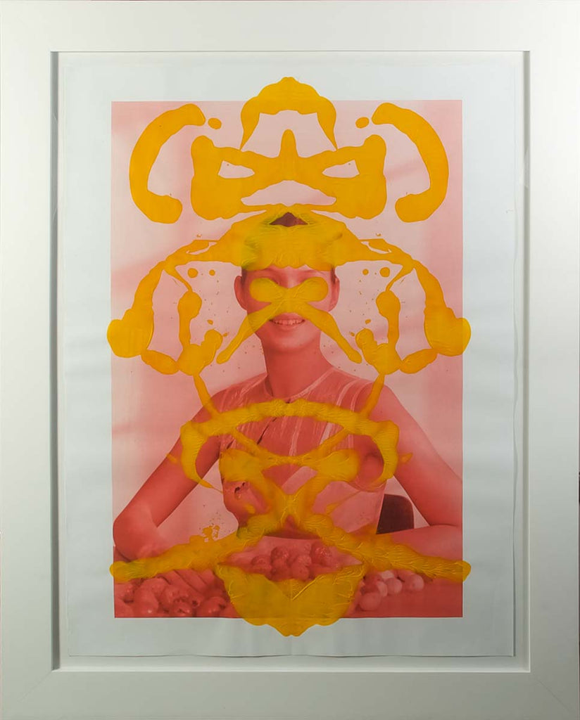 Kate Moss Rorschach Portrait - Yellow on Red, 2013