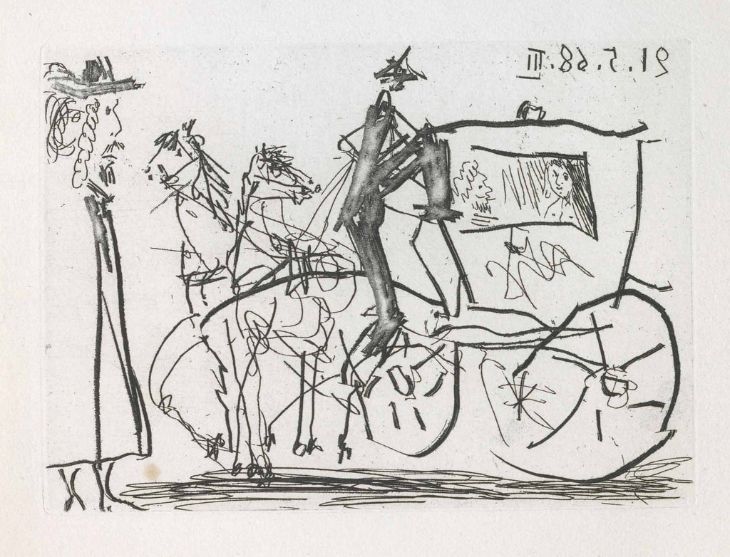 Pablo Picasso - Couple in a Carriage with Man on Foot (La Célestine, B.1583)