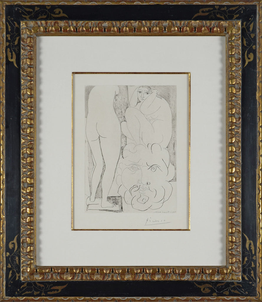 Pablo_Picasso_Crouching_Model_Nude_and_Sculptured_Head