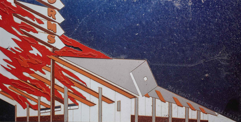 Norms on Fire, After Ed Ruscha (Pictures of Cars)