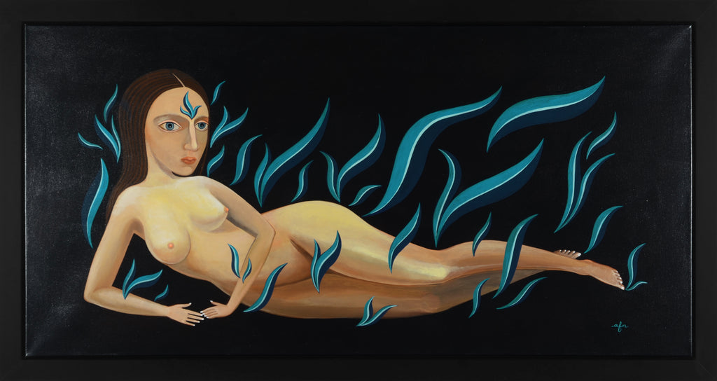 Reclining Nude in Cool Blue Flames