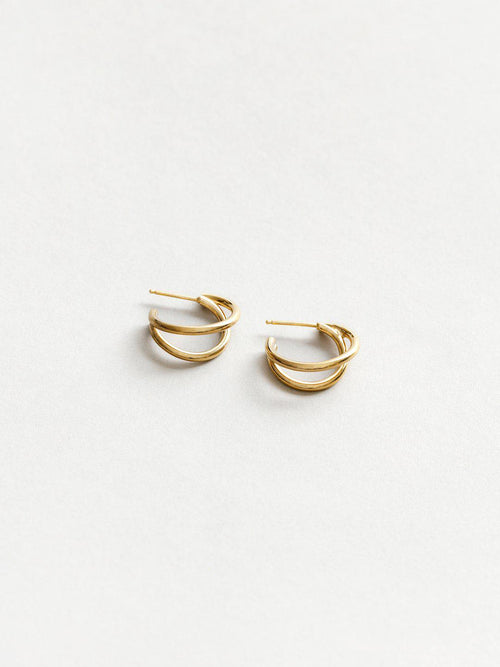 Double Wire Hoops Gold-Jewerly - Earrings-Sattva Boutique