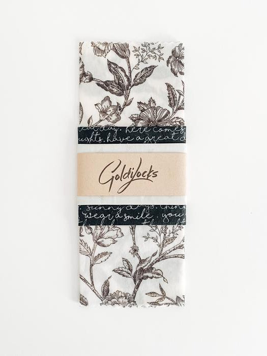 Black Floral Beeswax Wraps (Set of 3)-Goldilocks-Sattva Boutique