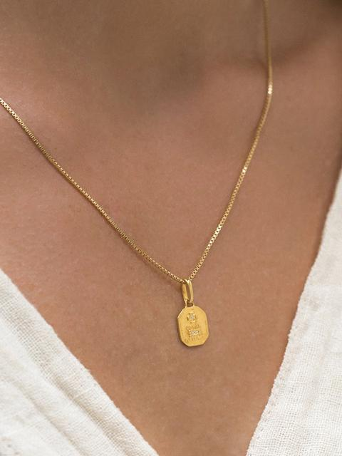 Leah Alexandra Love Token Necklace Square-Jewerly - Necklace-Sattva Boutique