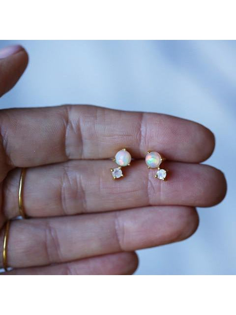 Leah Alexandra Opal Studs-Jewerly - Earrings-Sattva Boutique
