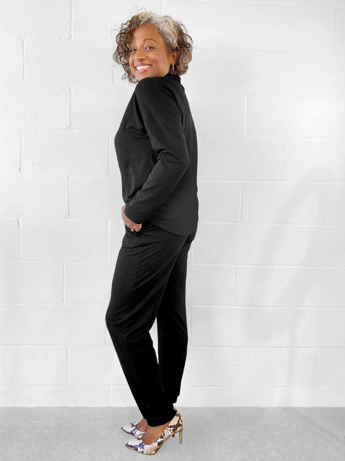 Roxy Open Back Jumpsuit Black-Miik-Sattva Boutique