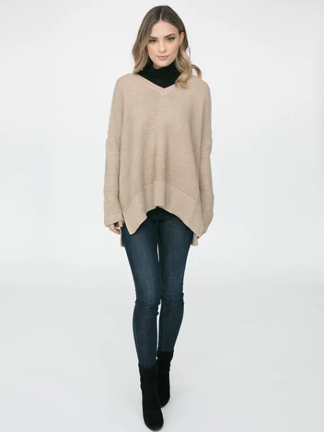 Isabelle Poncho Light Camel-Clothing - Knits - Knit Pullover-Sattva Boutique