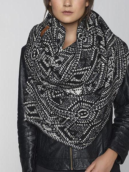Krista Norris Zirka Wingtip Scarf Black-Accessories - Scarves-Sattva Boutique