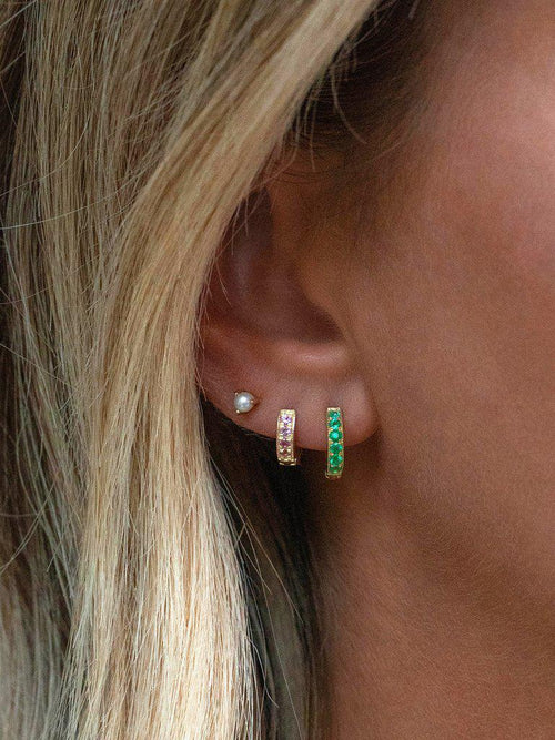 Pave Huggies (10mm) Emerald-Leah Alexandra-Sattva Boutique