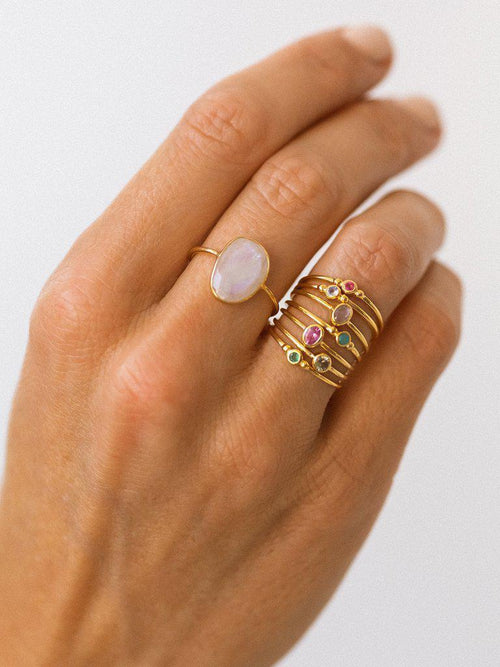 Slice Ring, Moonstone-Jewerly - Rings-Sattva Boutique