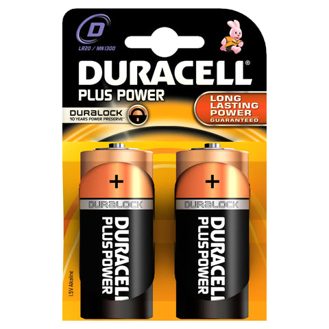 Duracell Plus Power D Alkaline Batteries - 2 Pack