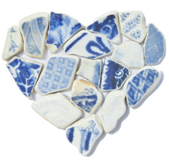 Antique Beach Pottery Heart Collage