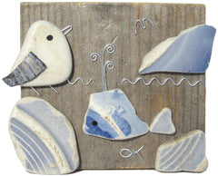 Seagull and Whale Driftwood Ornament