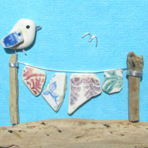 Seagull and Washing Line Beach Collage