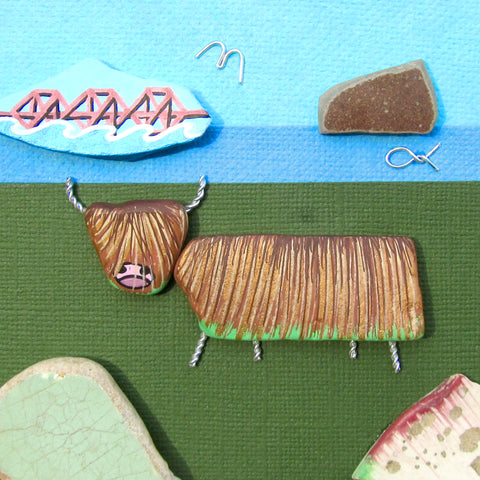Highland Cow, Forth Rail Bridge & Bass Rock - Hand-Painted Framed Beach Collage (No. 1003)