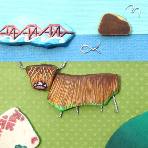 Highland Cow, Forth Rail Bridge & Bass Rock - Hand-Painted Framed Beach Collage (No. 1004)