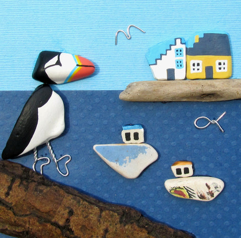 Hand-Painted Puffin, Fishing Boats & East Neuk Cottages - Framed Beach Collage (No. 1006)