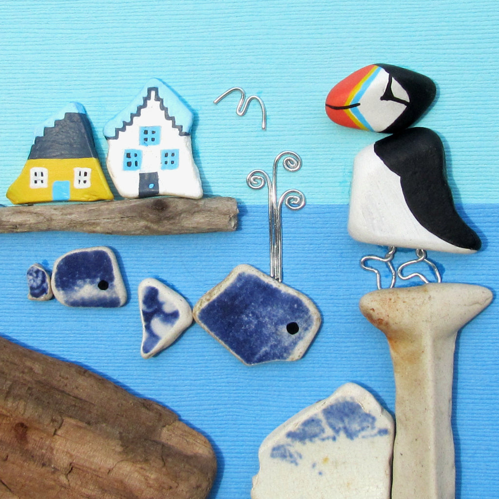 Hand-Painted Puffin, Whales & East Neuk Cottages - Framed Beach Collage (No. 1007)