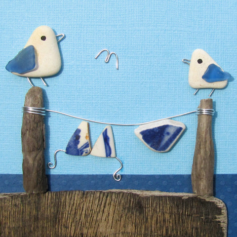 Pebble Seagulls & Antique Pottery Bikini Washing Line - Framed Beach Collage (No. 1008)