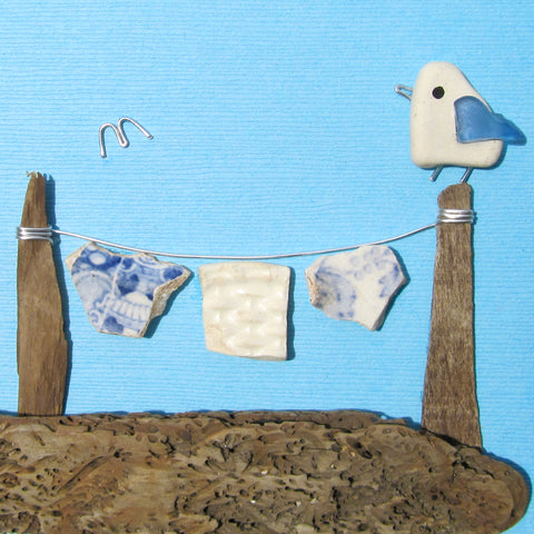 Pebble Seagull & Antique Pottery Washing Line with Pants - Framed Beach Collage (No. 1009)