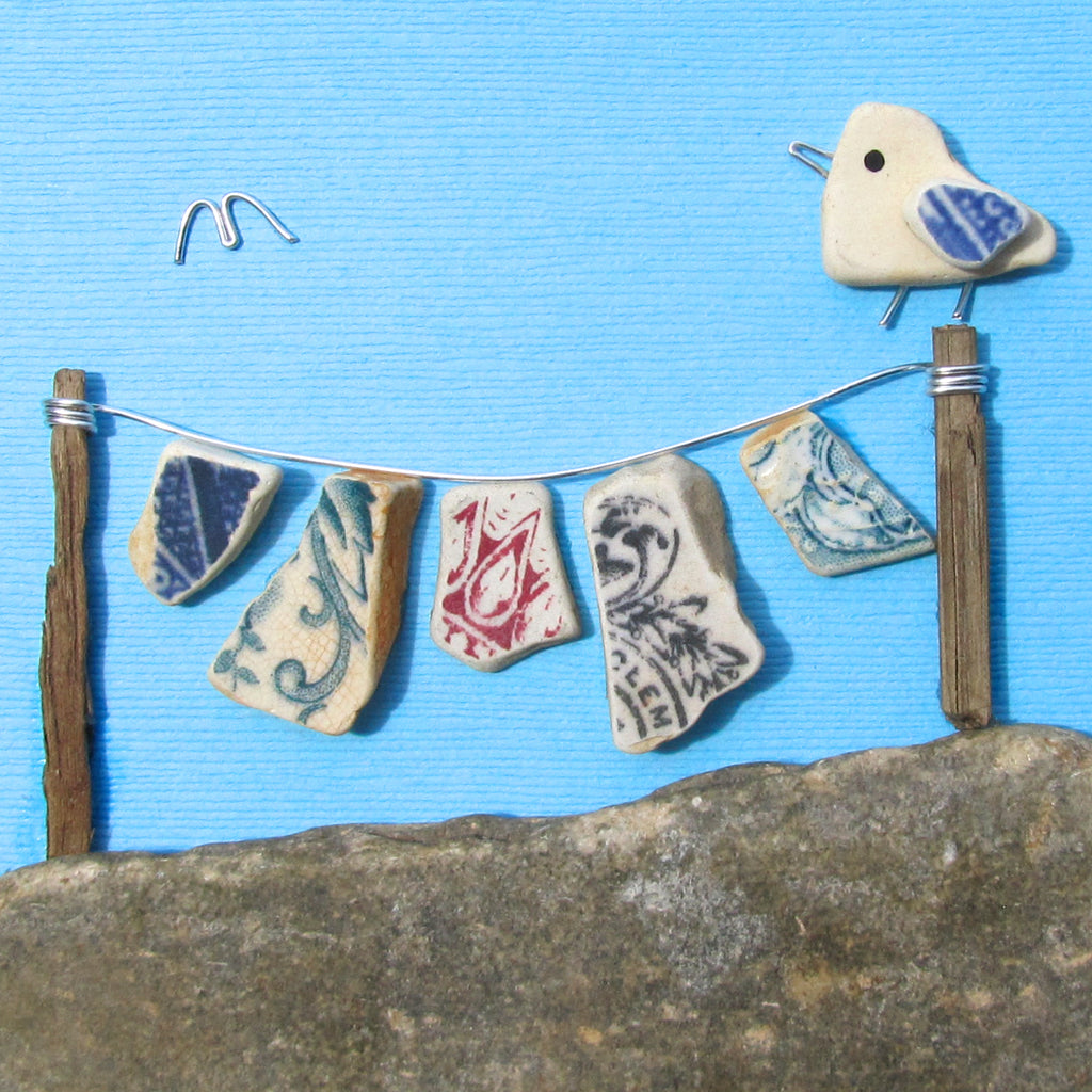 Pebble Seagull & Antique Pottery Multi-Coloured Washing Line - Framed Beach Collage (No. 1010)
