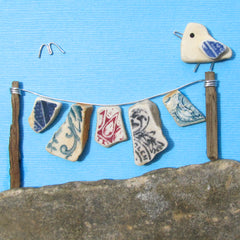 Seagull & Antique Beach Pottery Washing Line