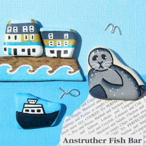 Anstruther Fish Bar, Isle of May Princess & Seal - Hand-Painted Framed Beach Collage (No. 1011)