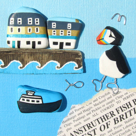 Anstruther Fish Bar, Isle of May Princess & Puffin - Hand-Painted Framed Beach Collage (No. 1012)