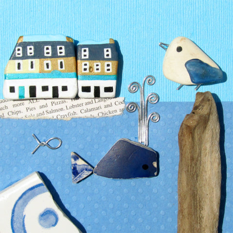Anstruther Fish Bar, Pottery Whale & Seagull - Hand-Painted Framed Beach Collage (No. 1013)