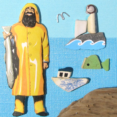 Anstruther Fish Bar Fisherman, Isle of May, Fish & Boat - Framed Beach Collage (No. 1014)
