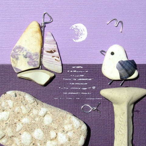 Pebble Seagull & Pottery Sailing Boat by Moonlight - Framed Beach Collage (No. 1015)
