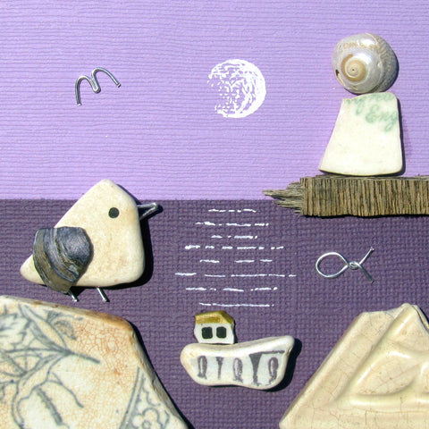 Pebble Seagull & Pottery Fishing Boat & Lighthouse by Moonlight - Framed Beach Collage (No. 1016)
