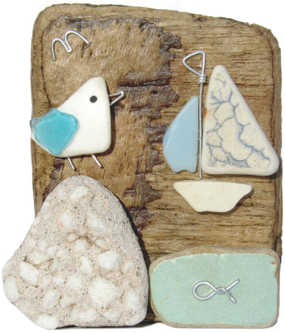 Pebble Seagull & Sailing Boat - Beach Pottery Driftwood Ornament (No. 1019)