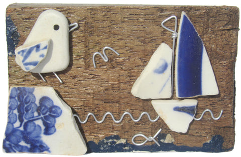 Pebble Seagull, Whale & Sailing Boat - Beach Pottery Driftwood Ornament (No. 1022)